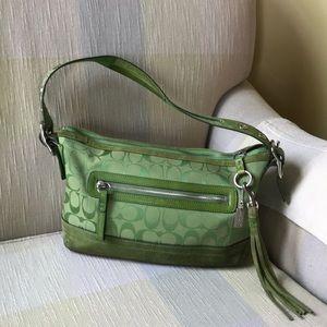 Green Coach signature shoulder bag